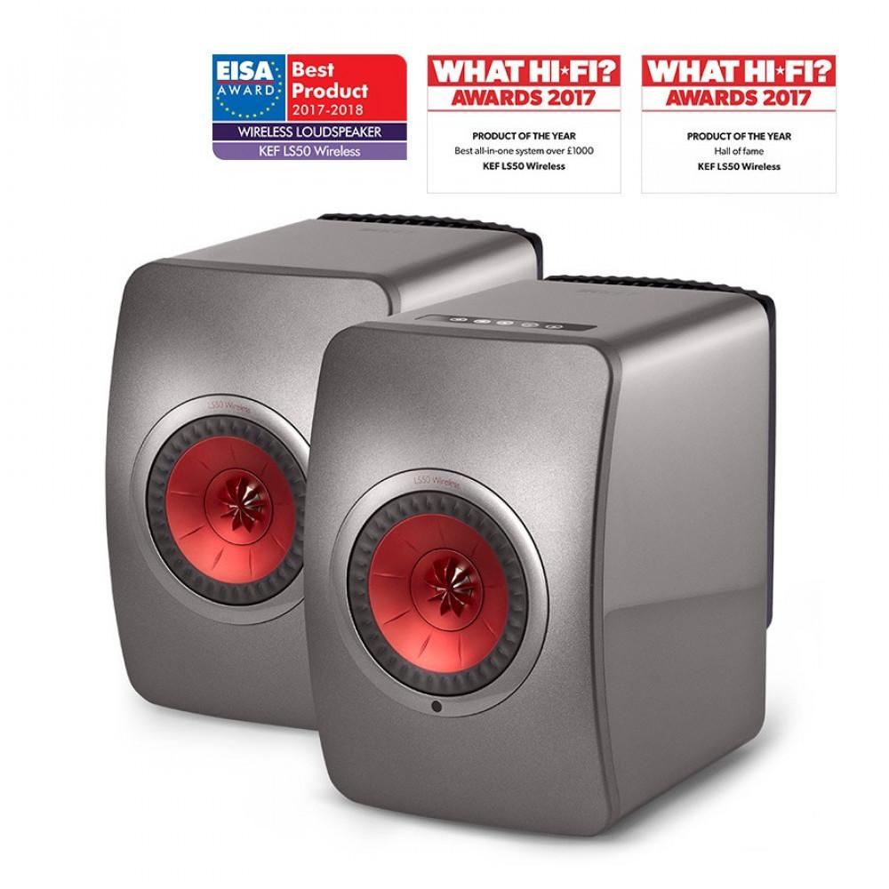 KEF LS50 Wireless Titanium Grey/Red