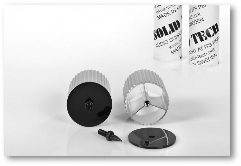 SOLID TECH Radius Corner-pillars Hörnben 65,5mm plus spikes Silver anodiserade